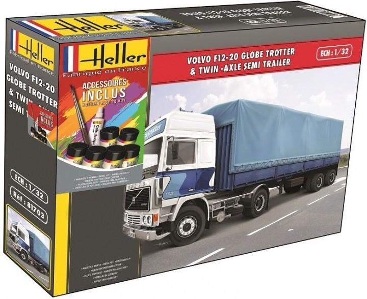 Starter Kit Volvo F12-20 Globe Trotter & Twin-Axle Semi Trailer - 1-32 - Heller 57703  - BLIMPS COMÉRCIO ELETRÔNICO