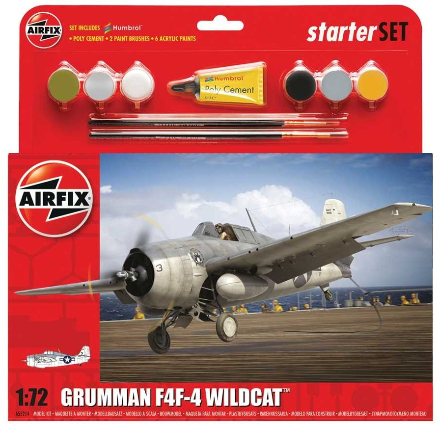 Starter Set Grumman F4F-4 Wildcat - 1/72 - Airfix A55214  - BLIMPS COMÉRCIO ELETRÔNICO