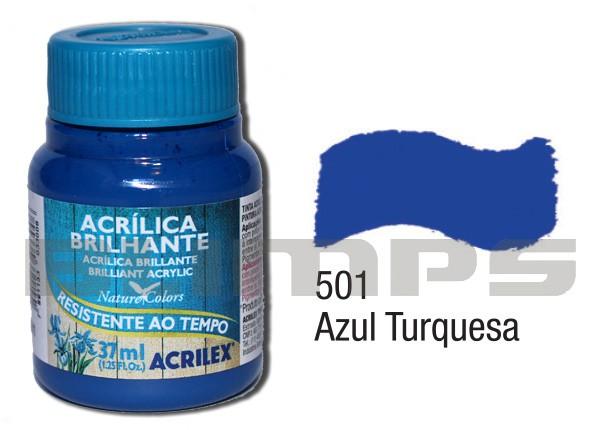 Tinta Acrílica Brilhante 501 Azul Turquesa (37 ml) - Acrilex 033400501  - BLIMPS COMÉRCIO ELETRÔNICO