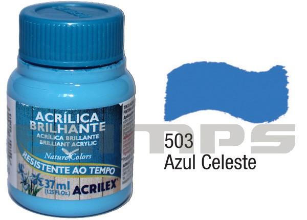 Tinta Acrílica Brilhante 503 Azul Celeste (37 ml) - Acrilex 033400503  - BLIMPS COMÉRCIO ELETRÔNICO
