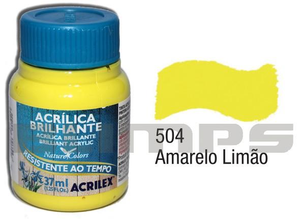 Tinta Acrílica Brilhante 504 Amarelo Limão (37 ml) - Acrilex 033400504  - BLIMPS COMÉRCIO ELETRÔNICO