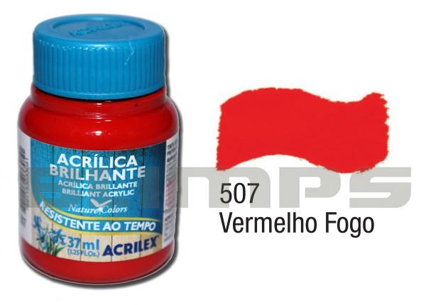 Tinta Acrílica Brilhante 507 Vermelho Fogo (37 ml) - Acrilex 033400507  - BLIMPS COMÉRCIO ELETRÔNICO