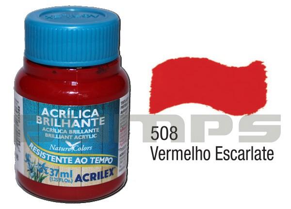 Tinta Acrílica Brilhante 508 Vermelho Escalarte (37 ml) - Acrilex 033400508  - BLIMPS COMÉRCIO ELETRÔNICO