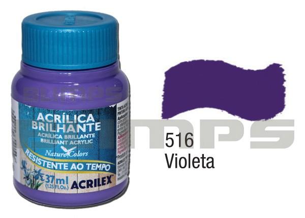 Tinta Acrílica Brilhante 516 Violeta (37 ml) - Acrilex 033400516  - BLIMPS COMÉRCIO ELETRÔNICO
