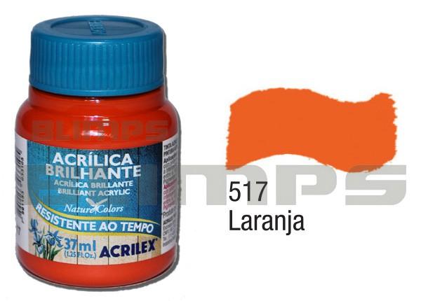 Tinta Acrílica Brilhante 517 Laranja (37 ml) - Acrilex 033400517  - BLIMPS COMÉRCIO ELETRÔNICO