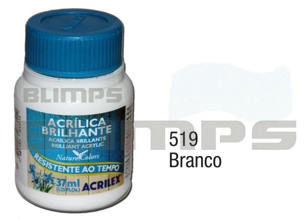 Tinta Acrílica Brilhante 519 Branco (37 ml) - Acrilex 033400519  - BLIMPS COMÉRCIO ELETRÔNICO