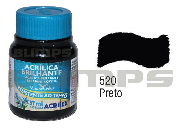 Tinta Acrílica Brilhante 520 Preto (37 ml) - Acrilex 033400520  - BLIMPS COMÉRCIO ELETRÔNICO