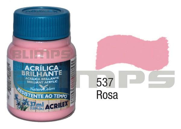 Tinta Acrílica Brilhante 537 Rosa (37 ml) - Acrilex 033400537  - BLIMPS COMÉRCIO ELETRÔNICO