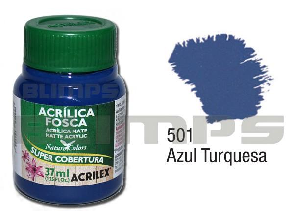 Tinta Acrílica Fosca 501 Azul Turqueza (37 ml) - Acrilex 035400501  - BLIMPS COMÉRCIO ELETRÔNICO