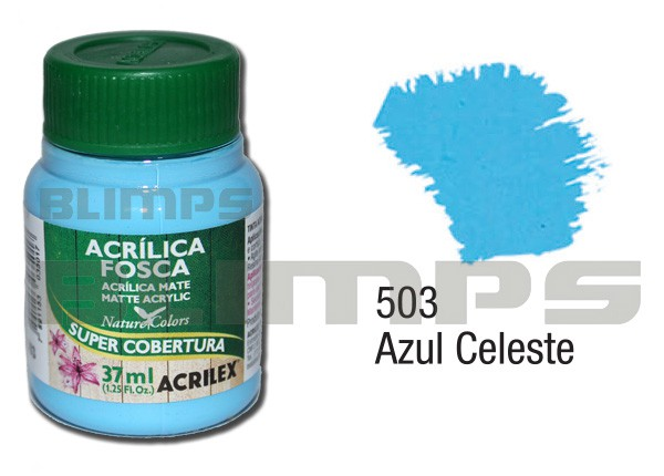 Tinta Acrílica Fosca 503 Azul Celeste (37 ml) - Acrilex 035400503  - BLIMPS COMÉRCIO ELETRÔNICO