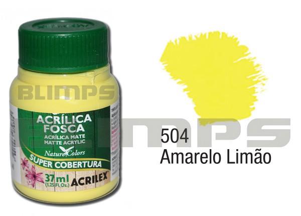 Tinta Acrílica Fosca 504 Amarelo Limão (37 ml) - Acrilex 035400504  - BLIMPS COMÉRCIO ELETRÔNICO