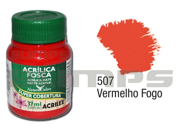 Tinta Acrílica Fosca 507 Vermelho Fogo (37 ml) - Acrilex 035400507  - BLIMPS COMÉRCIO ELETRÔNICO