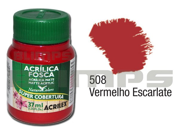 Tinta Acrílica Fosca 508 Vermelho Escalarte (37 ml) - Acrilex 035400508  - BLIMPS COMÉRCIO ELETRÔNICO