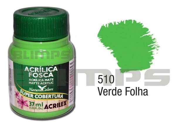 Tinta Acrílica Fosca 510 Verde Folha (37 ml) - Acrilex 035400510  - BLIMPS COMÉRCIO ELETRÔNICO
