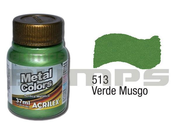 Tinta Acrílica Metalizada (Metal Color) 513 Verde Musgo (37 ml) - Acrilex 036400513  - BLIMPS COMÉRCIO ELETRÔNICO