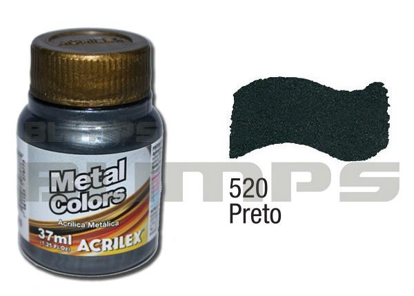 Tinta Acrílica Metalizada (Metal Color) 520 Preto (37 ml) - Acrilex 036400520  - BLIMPS COMÉRCIO ELETRÔNICO