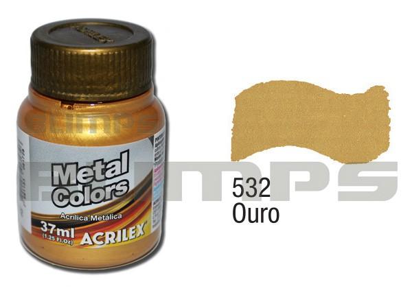 Tinta Acrílica Metalizada (Metal Color) 532 Ouro (37 ml) - Acrilex 036400532  - BLIMPS COMÉRCIO ELETRÔNICO