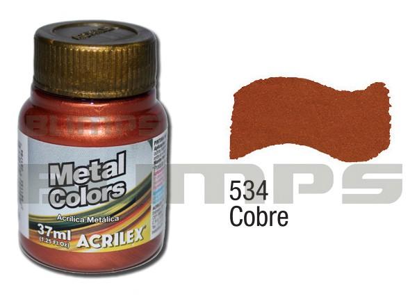 Tinta Acrílica Metalizada (Metal Color) 534 Cobre (37 ml) - Acrilex 036400534  - BLIMPS COMÉRCIO ELETRÔNICO