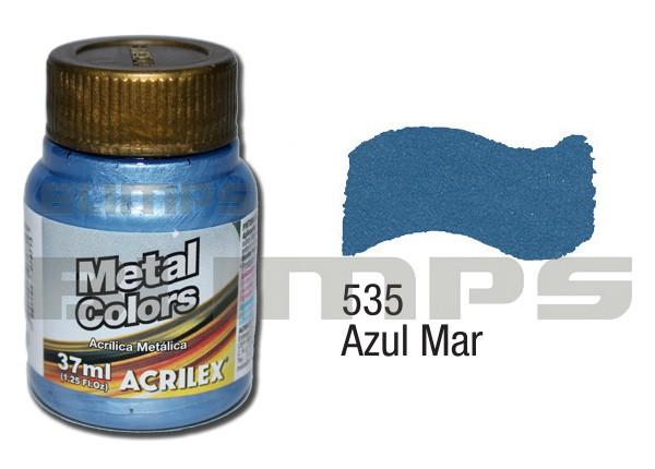 Tinta Acrílica Metalizada (Metal Color) 535 Azul Mar (37 ml) - Acrilex 036400535  - BLIMPS COMÉRCIO ELETRÔNICO