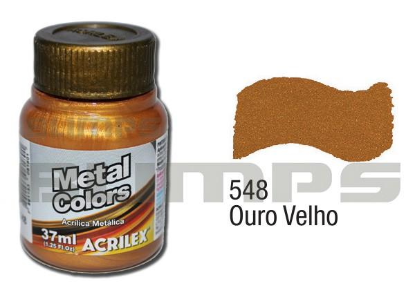 Tinta Acrílica Metalizada (Metal Color) 548 Ouro Velho (37 ml) - Acrilex 036400548  - BLIMPS COMÉRCIO ELETRÔNICO
