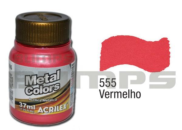 Tinta Acrílica Metalizada (Metal Color) 555 Vermelho (37 ml) - Acrilex 036400555  - BLIMPS COMÉRCIO ELETRÔNICO