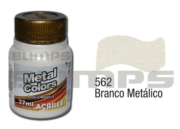 Tinta Acrílica Metalizada (Metal Color) 562 Branco Metálico (37 ml) - Acrilex 036400562  - BLIMPS COMÉRCIO ELETRÔNICO