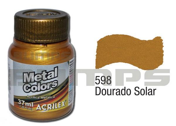 Tinta Acrílica Metalizada (Metal Color) 598 Dourado Solar (37 ml) - Acrilex 036400598  - BLIMPS COMÉRCIO ELETRÔNICO