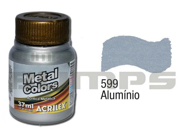 Tinta Acrílica Metalizada (Metal Color) 599 Alumínio (37 ml) - Acrilex 036400599  - BLIMPS COMÉRCIO ELETRÔNICO