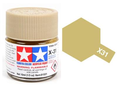 Tinta Acrílica Mini X-31 Titan Gold (10 ml) - Tamiya 81531  - BLIMPS COMÉRCIO ELETRÔNICO