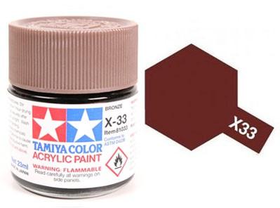 Tinta Acrílica Mini X-33 Bronze (10 ml) - Tamiya 81533  - BLIMPS COMÉRCIO ELETRÔNICO