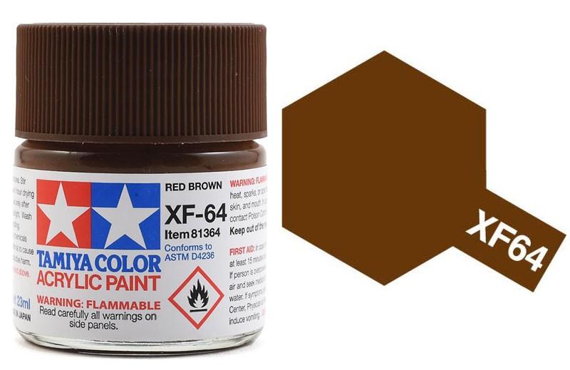 Tinta Acrílica XF-64 (23 ml) Marrom Avermelhado - Tamiya 81364  - BLIMPS COMÉRCIO ELETRÔNICO