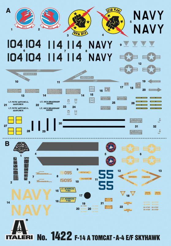TOP GUN F-14A vs. A-4F - 1/72 - Italeri 1422  - BLIMPS COMÉRCIO ELETRÔNICO
