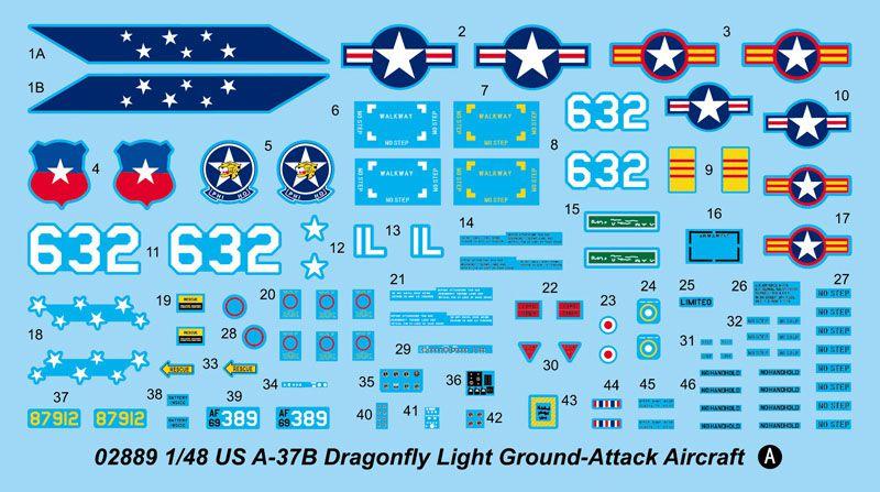 US A-37B Dragonfly Light Ground-Attack Aircraft - 1/48 - Trumpeter 02889  - BLIMPS COMÉRCIO ELETRÔNICO