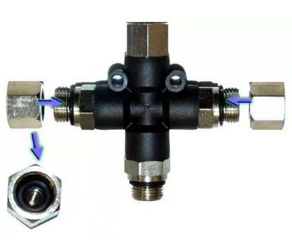 Válvula de ar com 3 saídas para aerógrafos - Fengda BD13  - BLIMPS COMÉRCIO ELETRÔNICO