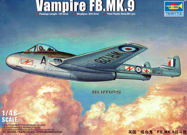 Vampire FB.MK.9 - 1/48 - Trumpeter 02875  - BLIMPS COMÉRCIO ELETRÔNICO
