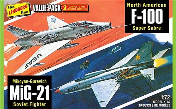 Vietnan Era Fighters - F-100 e MiG-21 - 1/72 - Lindberg HL432  - BLIMPS COMÉRCIO ELETRÔNICO