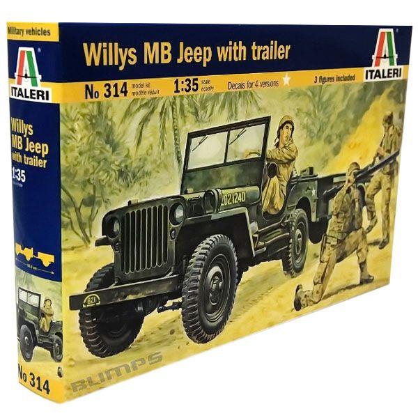 Willys MB Jeep with Trailer - 1/35 - Italeri 314  - BLIMPS COMÉRCIO ELETRÔNICO