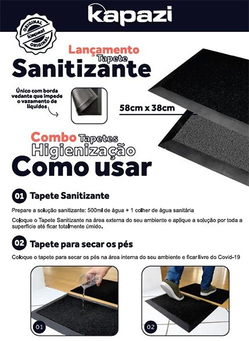 Kit Tapete Sanitizante 38x58cm + Tapete Home Seca Pés 39x59cm Kapazi