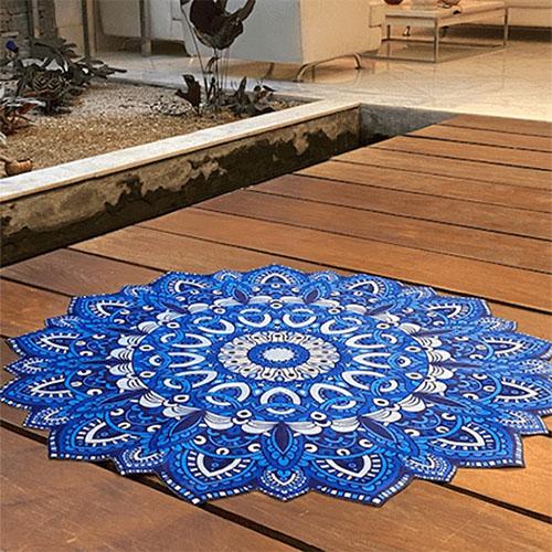 Tapete Decorativo Aveludado Mandala Dália Blue Ø138cm