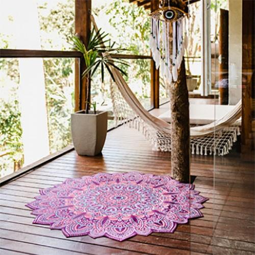 Tapete Aveludado Decorativo Mandala Dália Bali Ø 1,38m Gili