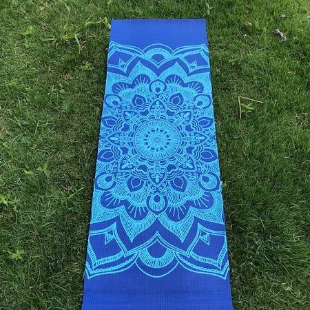 Tapete Mat Premium  Mandala Azul  PVC Acompanha Alça Porta Mat 2,00X0,61m