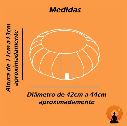 Zafu Almofada Para Meditação Tradicional G Tecido 100% Algodão Ø42x12cm