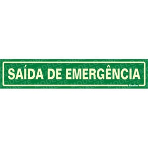 Placa De Sinalização Saída De Emergência 30 X 6,5cm - 0,80mm