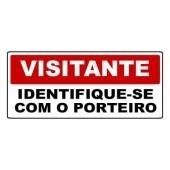 Placa Sinalização Visitante Identifique-Se Com O Porteiro 30 X 13cm - 0,80mm