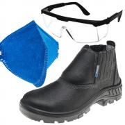 Kit Promocional 95b19 Bico Plástico Marluvas + Óculos de Proteção RJ Incolor + Máscara PFF2 Ledan Sem Válvula