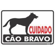 Placa De Sinalização Cuidado Cão Bravo 30 X 20cm - 0,80mm