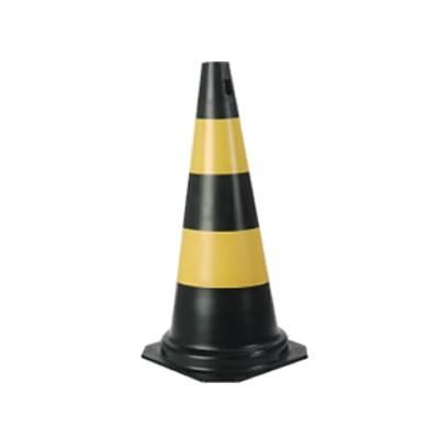 Cone De Pvc 75cm Preto E Amarelo
