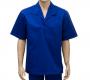 Camisa De Brim Manga Curta Azul Gola Italiana Tam. G - Borrachas Bem Te Vi