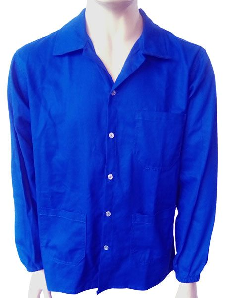 Camisa De Brim Azul Botão Manga Longa 3 Bolsos