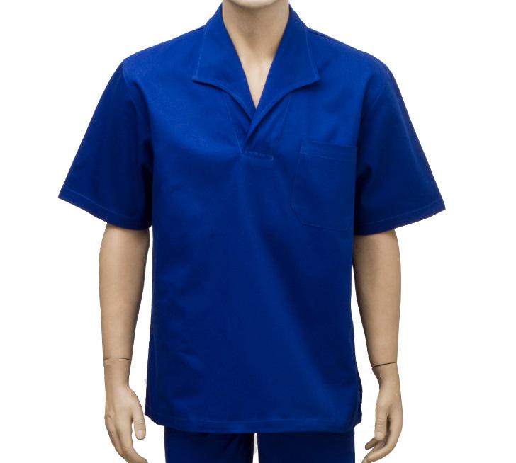 Camisa De Brim Manga Curta Azul Gola Italiana Tam. G
